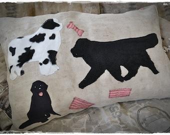 Newfoundland Landseer Cushion antique grainsack, linen, patches application