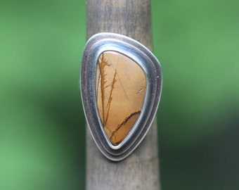 Picasso jasper and sterling silver ring, size 5, #576.