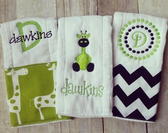 Personalized baby boy burp cloths - lime safari giraffe, baby gift