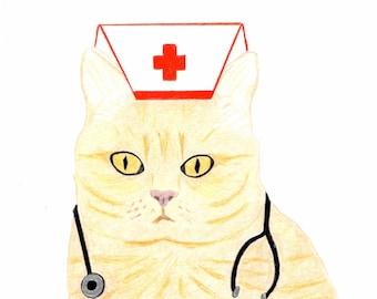 Get Well Card - Ginger Orange Cat Nurse Card - Cat Card