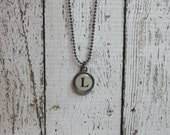 Initial L Charm Necklace, Vintage Style Typewriter Key Charm, Mini Initial Charm Necklace, Letter L on Ball Chain