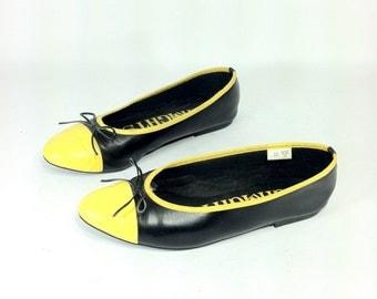 20 SALE -- Black Yellow Cap Toe Flats 10 - Ballet Flats with Bow 10 - Vegan Flats 10