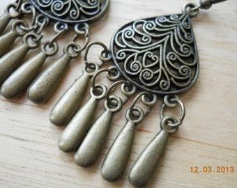 Bronze Chandelier Earrings with Teardrop Dangles