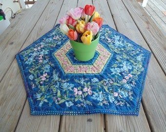 Mornng Glory and Iris Blue Table Topper