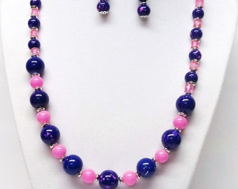 Purple and Pink Glass Bead Necklace & Earrings Set