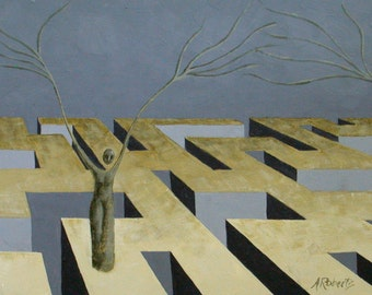 Tree People Maze, Surreal Landscape Painting, Wall Decor, Maze Painting, Maze Landscape
