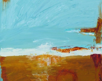 """CLEARANCE SALE! Original abstract acrylic landscape painting """"The Golden Field"""", 20"""" x 24"""" on canvas.  Wall art."""