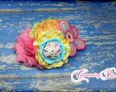 Pink, Lime Green, Turquoise, Orange, Headband, Hair Bow, Baby Girl Hair Accessory, Yellow, Aqua Fabric Flower Hair Bow, Hair Clip, Hair Clip