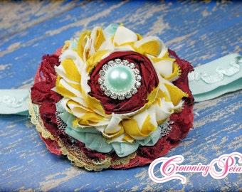Cranberry, Mustard Yellow, Aqua Headband, Maroon, Light Blue Hair Accessory, Flower Hair Clip, Fabric Flower Hair Bow, Hair Piece, Hairbow