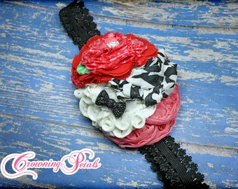 M2M Persnickety Rose Tunic, Black, Ivory, Red, Coral Headband, Toddler Hair Accessory, Girl Hair Bow, Autumn Splendor, Fall 2014 Hair Piece
