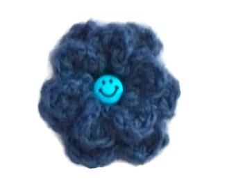 Crochet Flower Brooch, Blue