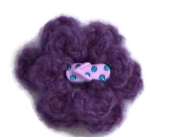 Crochet Flower Brooch, Purple