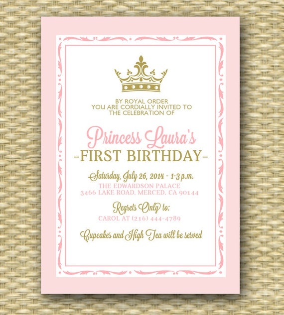 Pink and Gold Princess First Birthday Invitation Royal Baby – Pink 1st Birthday Invitations