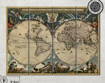 Large vintage world map on 4 panel canvas - ready to hang home decor interior art, 004