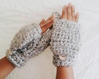 Crochet wool mittens, Convertible winter mittens for women,- The CERYS -  Fingerless gloves - Grey wool mittens