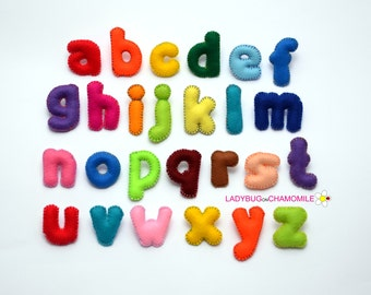 LOWER CASE Felt Magnet ALPHABET - Felt Alphabet ,Felt Letters ,Colorful Letters ,Educational Toy , stuffed felt