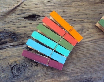 Miniature Colored Clothes Pins - Set of Six Bohemian Photo Holders - Colorful Boho Decor - Decorative Wood Clothespins - Gypsy Decoration
