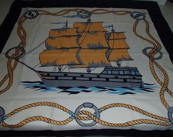 50% Off Sale SITMAR CRUISES SAILBOAT Scarf  Gold Tones Navy Blue Powder Blue Print