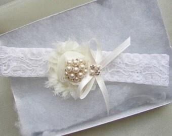 Wedding Garter - Ivory Wedding Toss Garter with Pearl & Rhinestone - Style # TG2020