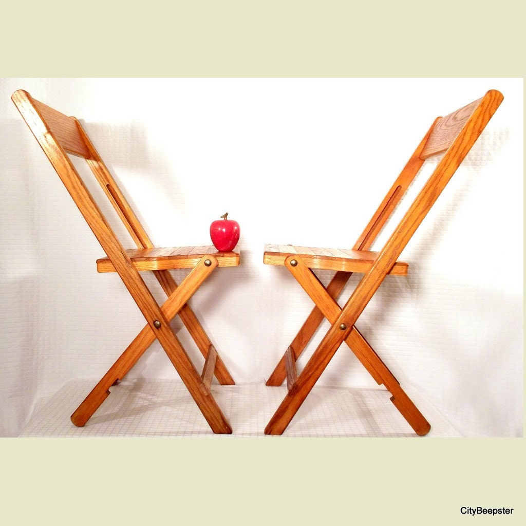 Wonderful image of Vintage Wood Folding Chair Pair Snyder Chair Co. by CityBeepster with #C67405 color and 1024x1024 pixels