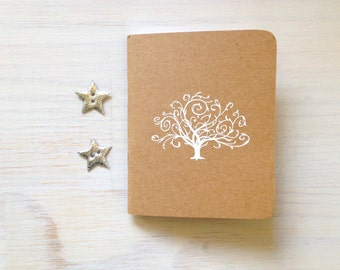 Notebook: Tree, White, Embossed, Unique, Christmas, Stocking Stuffer, Gift, Wedding, Jotter, Small Notebook, Blank Journal, For Her, For Him