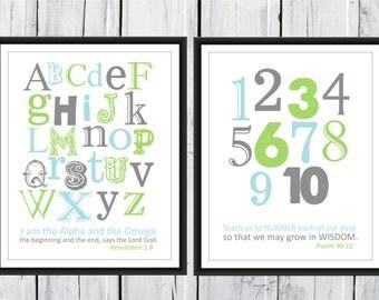 Christian Art Bible Verse Alphabet and Number Print Set 11x14 Revelation 1:8 Psalm 90