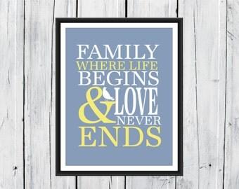 Family Where Life Begins...  11x14 Print Family Gift