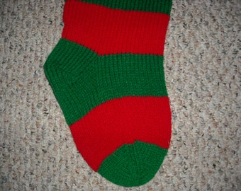 Personalized Christmas Stocking - 24 inch - Red and Green Striped - Hand Knit - Custom Order