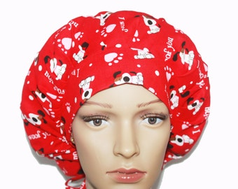 Bouffant Scrub Hat with ties - I Woof You Bouffant Scrub Hat - Ponytail Scrub hat