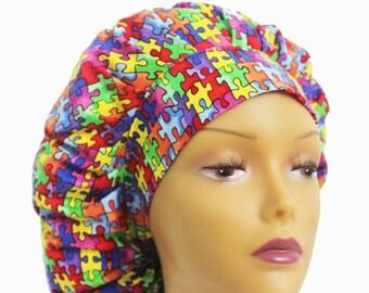 Bouffant Scrub Hat with ties - Autism Awareness Scrub Hat - Jigsaw Puzzle Bouffant Scrub Hat - Ponytail Scrub hat
