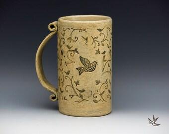 Birds in the Garden Mug for Coffee Lover, Gardener, Naturalist, Bird Watcher, Iced Tea Beer Stein