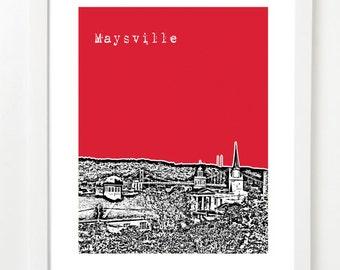 Maysville Poster - Kentucky State City Art Print - Maysville Skyline Poster