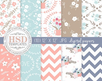 Floral Digital Paper - Shabby Chic Digital Paper - Blue Pink Beige Digital Papers - Digital Scrapbook Paper - DP144