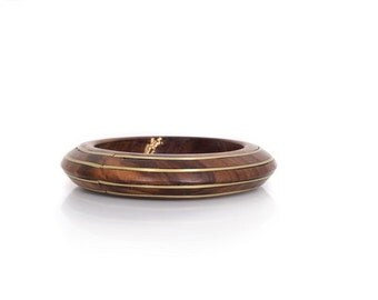 Wood Bracelet with  Golden  Brass -- Classically Yours