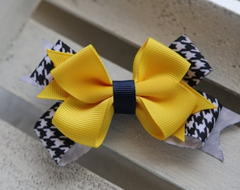 School Spirit Houndstooth Stacked Bow (Gold, Navy and Black)