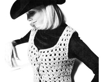 Vintage 70's Crochet Hippie Vest - PDF Pattern - Instant Download