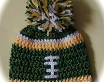 Crochet baby football hat Dallas pittsburgh  green bay  Seattle  newborn 3 6 9 month boy girl pom pom