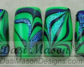 Green and Purple Flaming Witch's Brew Instant Acrylic Nail Set