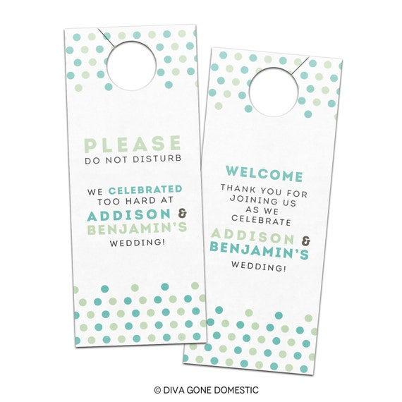 Hotel Door Hangers Template Wedding Hotel Door Hangers