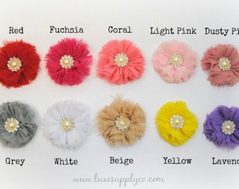 CLEARANCE - Shabby Ballerina Flowers with a PEARL Center - You Choose the Quantity - You Choose the Colors