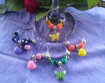 Wine Charms Hearts and Butterflies five piece set