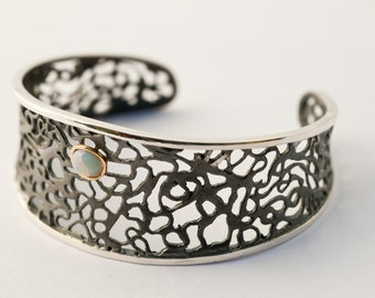 Handmade Silver Bracelet Cuff - Filigree bracelet - Silver, Gold and Opal - Lace Collection