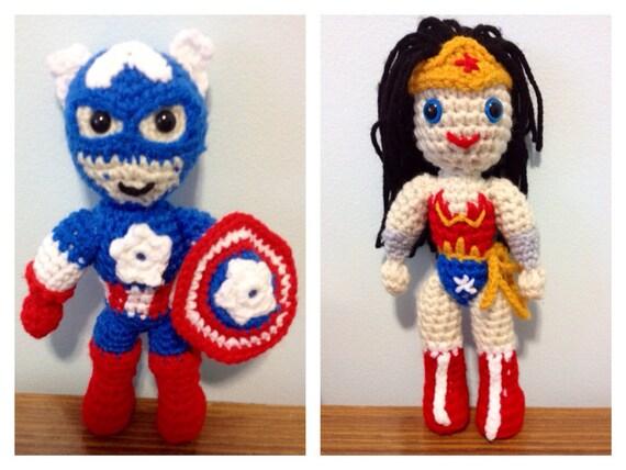 Amigurumi Wonder Woman : Crochet Pattern Captain America/Wonder Woman by ...