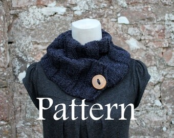 Knitting pattern - Charcoal button scarf - Listing118