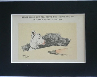 Bull terrier & Irish Wolfhound Signed mounted vintage 1928 Cecil Aldin dog plate print Unique Christmas Thanksgiving dog lover gift present