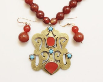 Turkmen Pendant Necklace Jewelry Set , Ethnic Jewelry