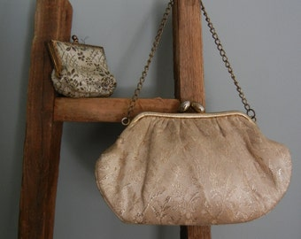 Vintage French Brocade Evening Bag and Change Purse