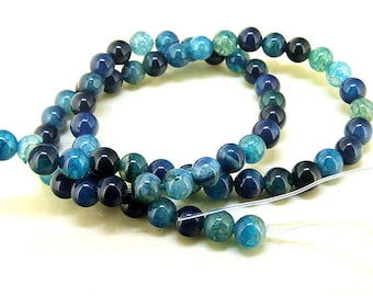 Round Dragon Blue Agate Gemstone Beads----6mm ----about 62Pieces---15inch strand One Full Strand Loose Strand Agate Beads Fit your jewelry