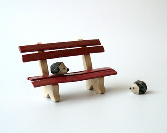 Miniature Red Garden Bench