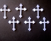 Embroidered Iron On Crosses Appliques, White, x 6, Embellishment For Scrapbook, Mixed Media, Accessories, Decor, Romantic & Victorian Crafts